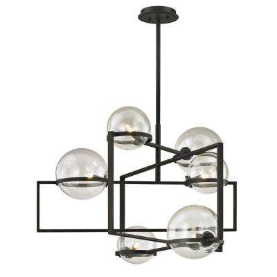 Elliot 6-Light Textured Black 30 in. W Pendant with Clear Glass