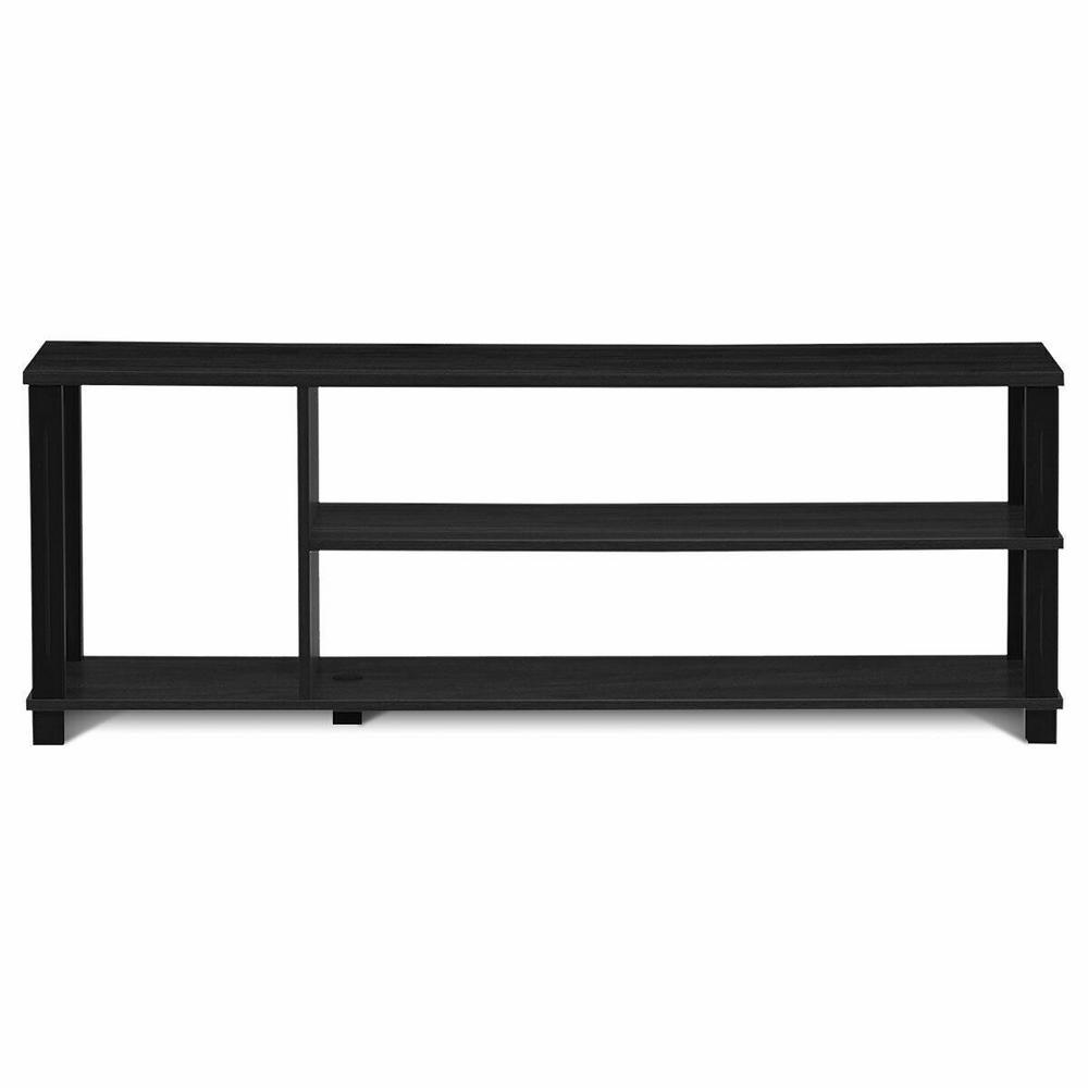 Black Retro 50-in TV Stand Entertainment Media Center Console 3-Shelf Cabinet