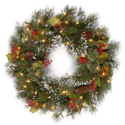 24 in wintry pine artificial wreath with clear lights - Christmas Greenery Wholesale