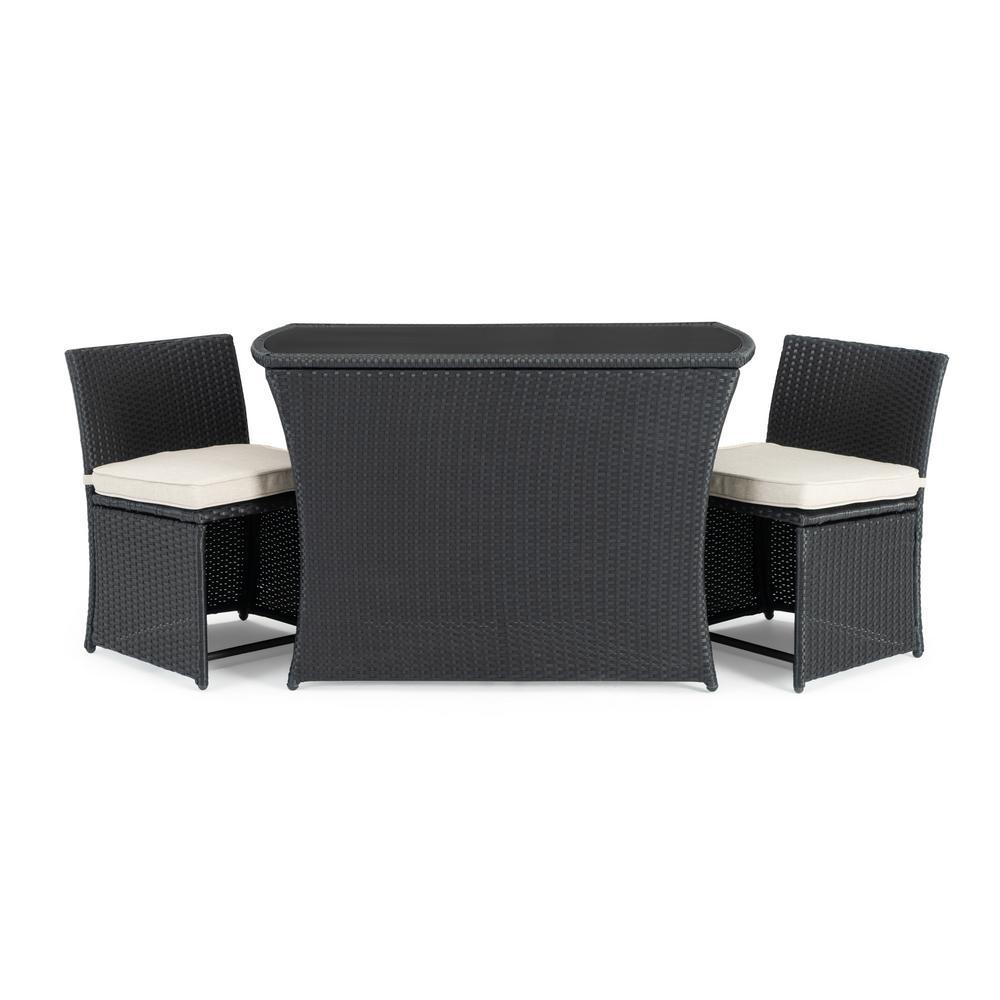 Exum Black 3-Piece Wicker Outdoor Dining Set with Beige Cushions