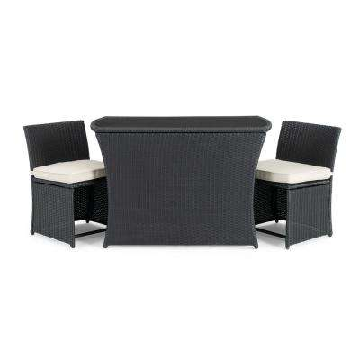 Exum Black 3-Piece Wicker Outdoor Dining Set with Beige Cushions