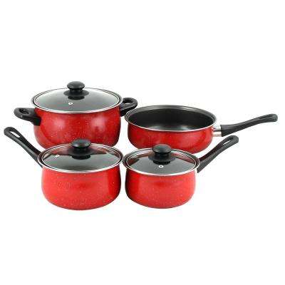 Casselman 7-Piece Black and Red Cookware Set with Lids