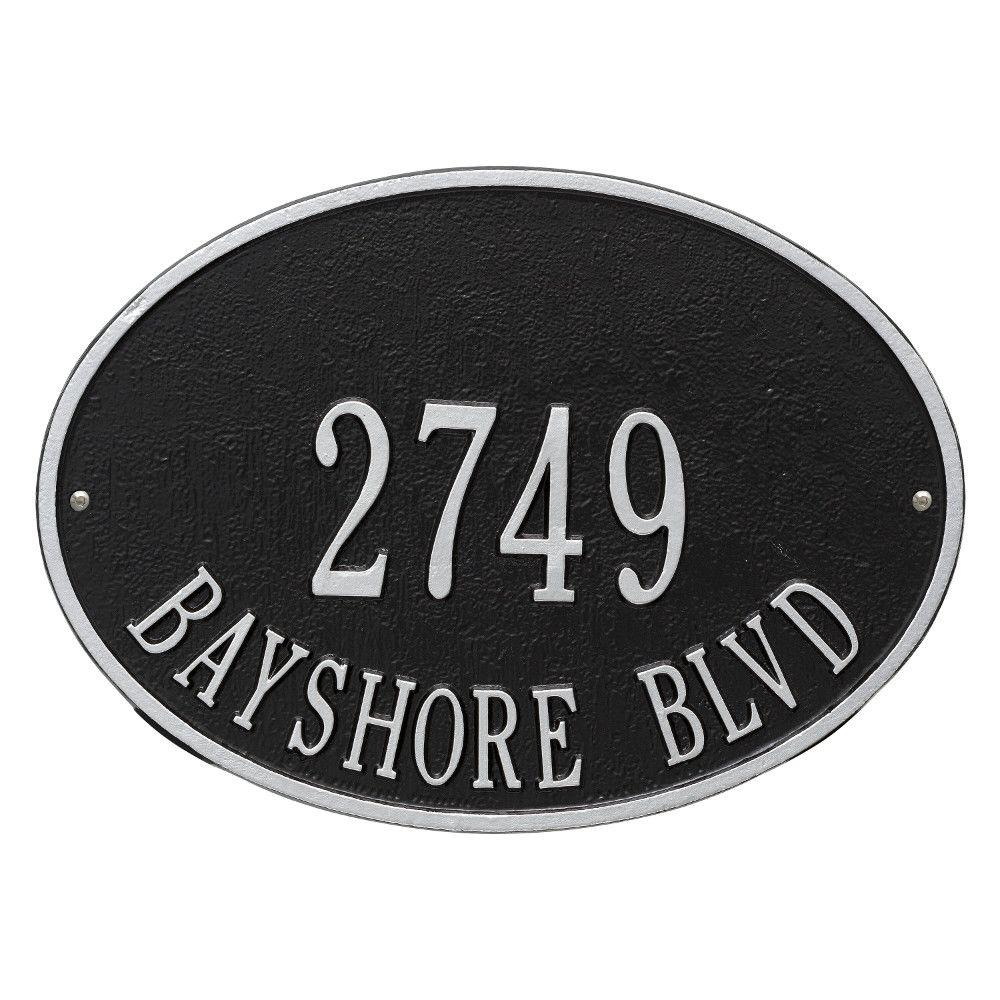 Hawthorne Standard Oval Black/Silver Wall 2-Line Address Plaque