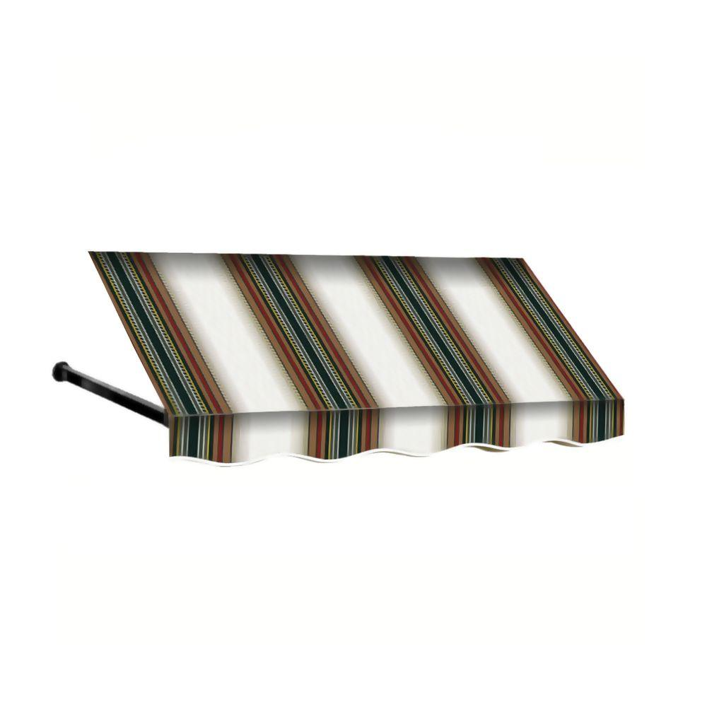 Beauty-Mark 8 ft. Dallas Retro Window/Entry Awning (16 in. H x 30 in. D) in Burgundy/Forest/Tan Stripe