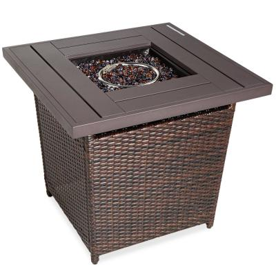 Brown Square Wicker Fire Pit Table