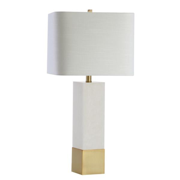 Jonathan Y Jeffrey 29 In Brass Gold White Metal Marble Led Table Lamp Jyl5009a The Home Depot