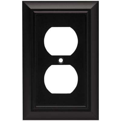 Architectural Decorative Single Duplex Outlet Cover, Flat Black