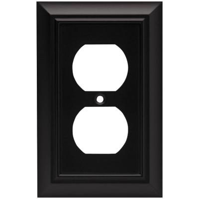Black 1-Gang Duplex Outlet Wall Plate (1-Pack)