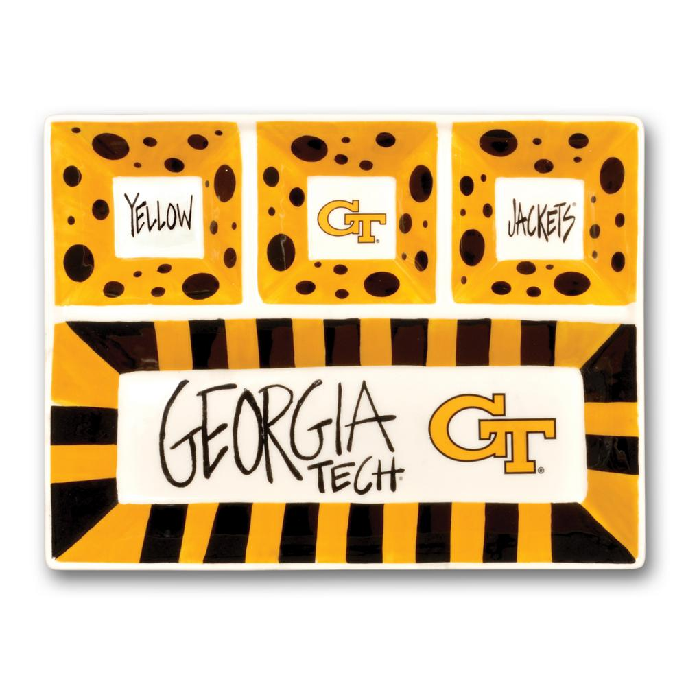 Georgia Tech Ceramic 4 Section Tailgating Serving Platter