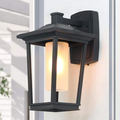 Outdoor Wall Light Craftsman 1-Light Textured Black Modern Outdoor Wall Lantern Sconce with Frosted Cylinder Glass Shade