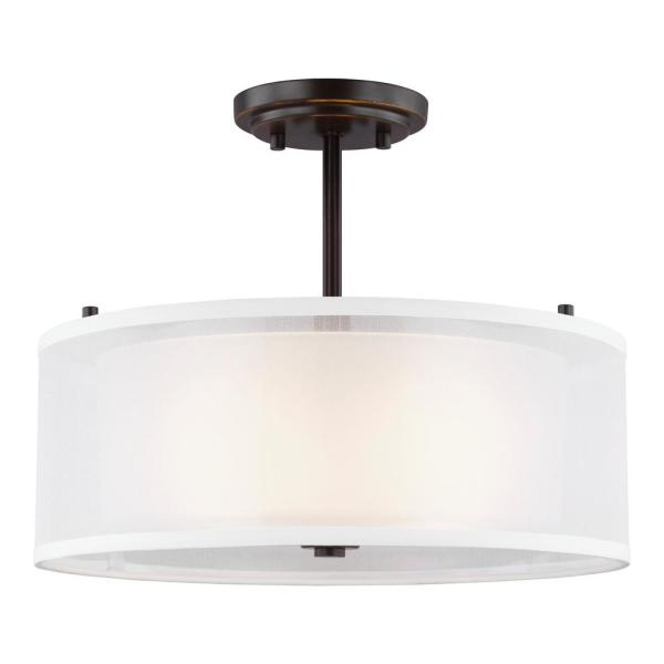 Elmwood Park 15 in. 2-Light Heirloom Bronze Semi-Flush Mount with Satin Etched Glass Shade