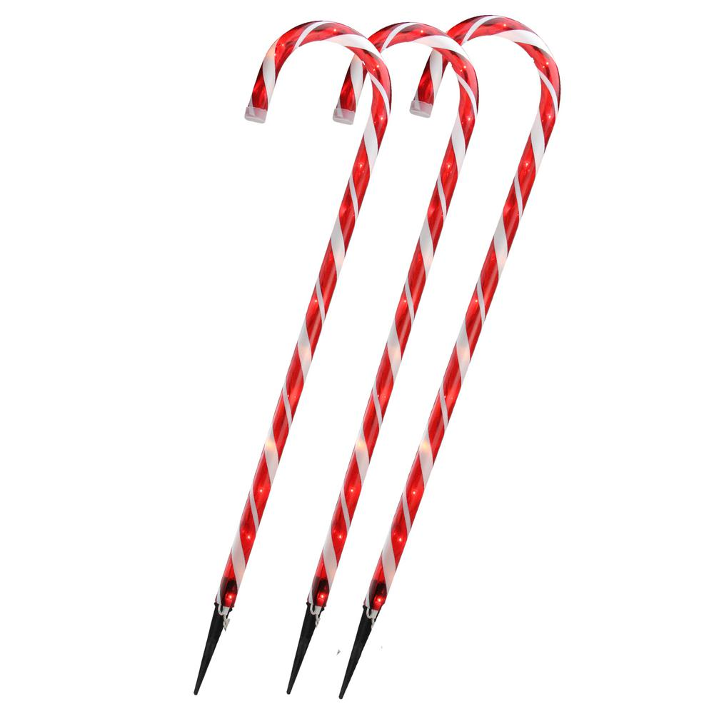 Christmas Candy.Northlight 28 In Christmas Outdoor Decorations Lighted Candy Cane Set Of 3