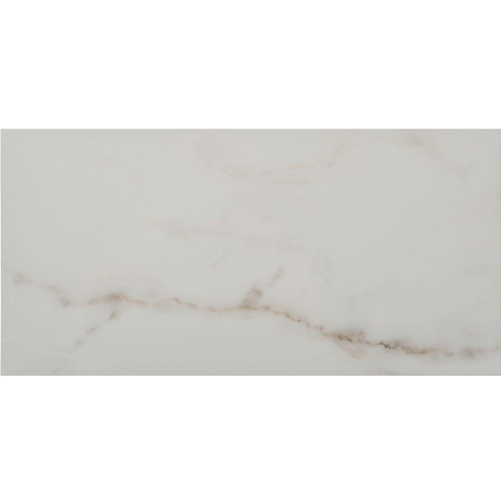 Michelangelo White 9 in. x 18 in. Ceramic Wall Tile (17.44