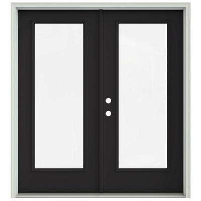 72 in. x 80 in. Chestnut Bronze Painted Steel Right-Hand Inswing Full Lite Glass Stationary/Active Patio Door