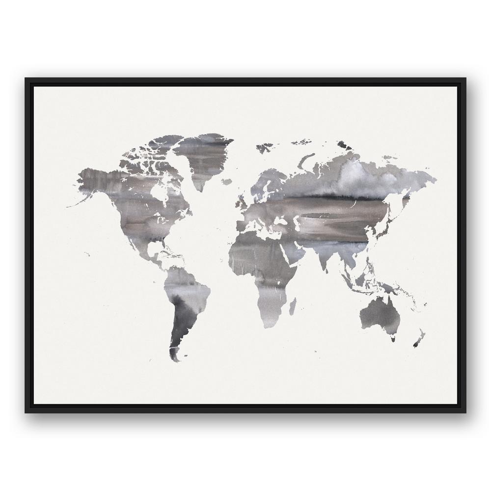 Black And White World Map Framed.Designs Direct 30 In X 40 In White Watercolor World Map