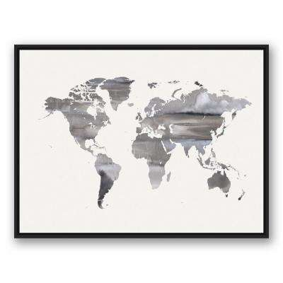 Designs direct framed art art the home depot 30 in x 40 in white watercolor world map printed gumiabroncs Choice Image