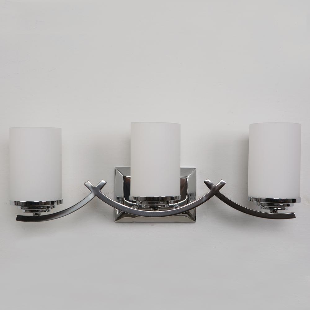 Vanity Lighting Family 3-Light Chrome Bathroom Vanity Light with White Glass Shade