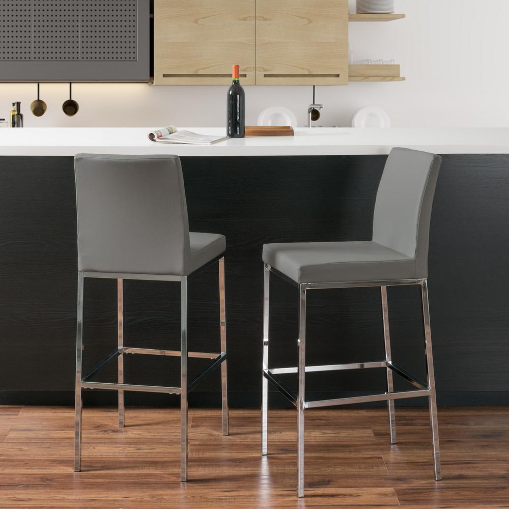 Huntington 30 in. Grey Leatherette Cushioned Bar Stool (Set of 2)