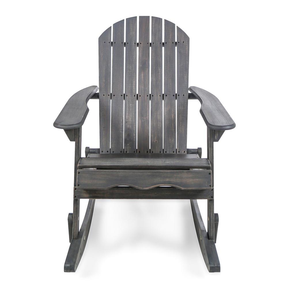 Noble House Rocking Dark Gray Wood Adirondack Chair 304035 The