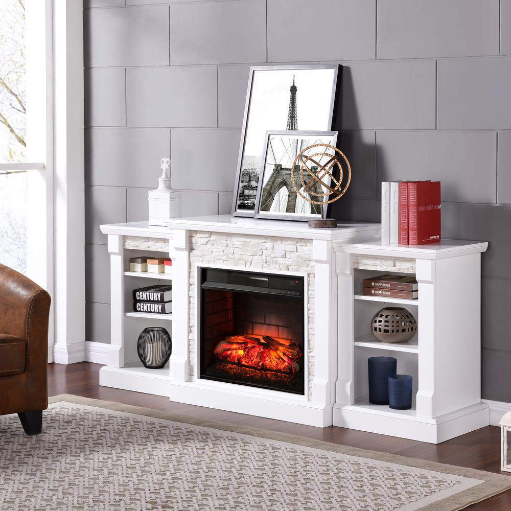 Southern Enterprises Nassau 71.75 in. W Infrared Faux Stone Electric Fireplace with Bookcases in White