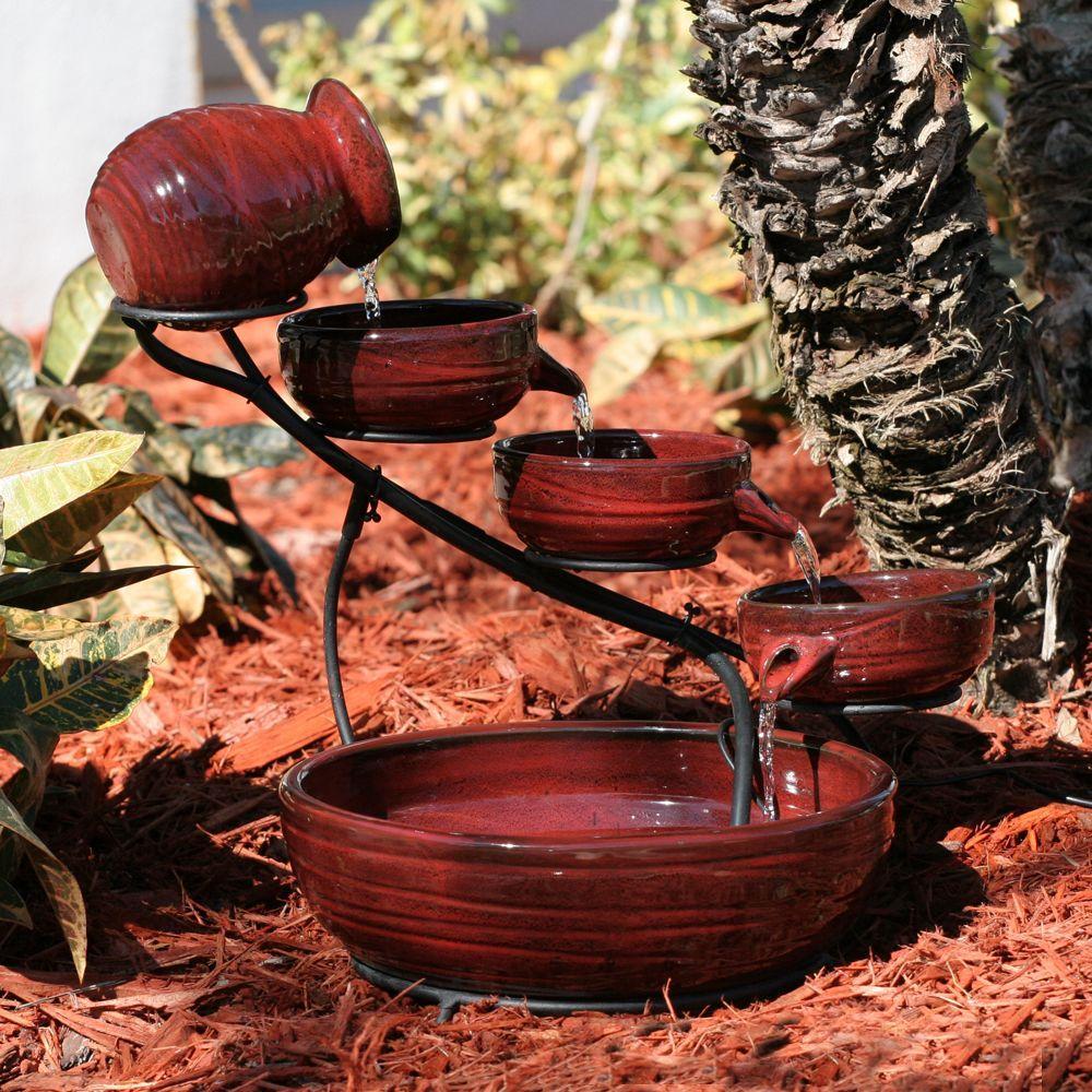 Lava Red Finish Lava Ceramic Solar Cascade Fountain