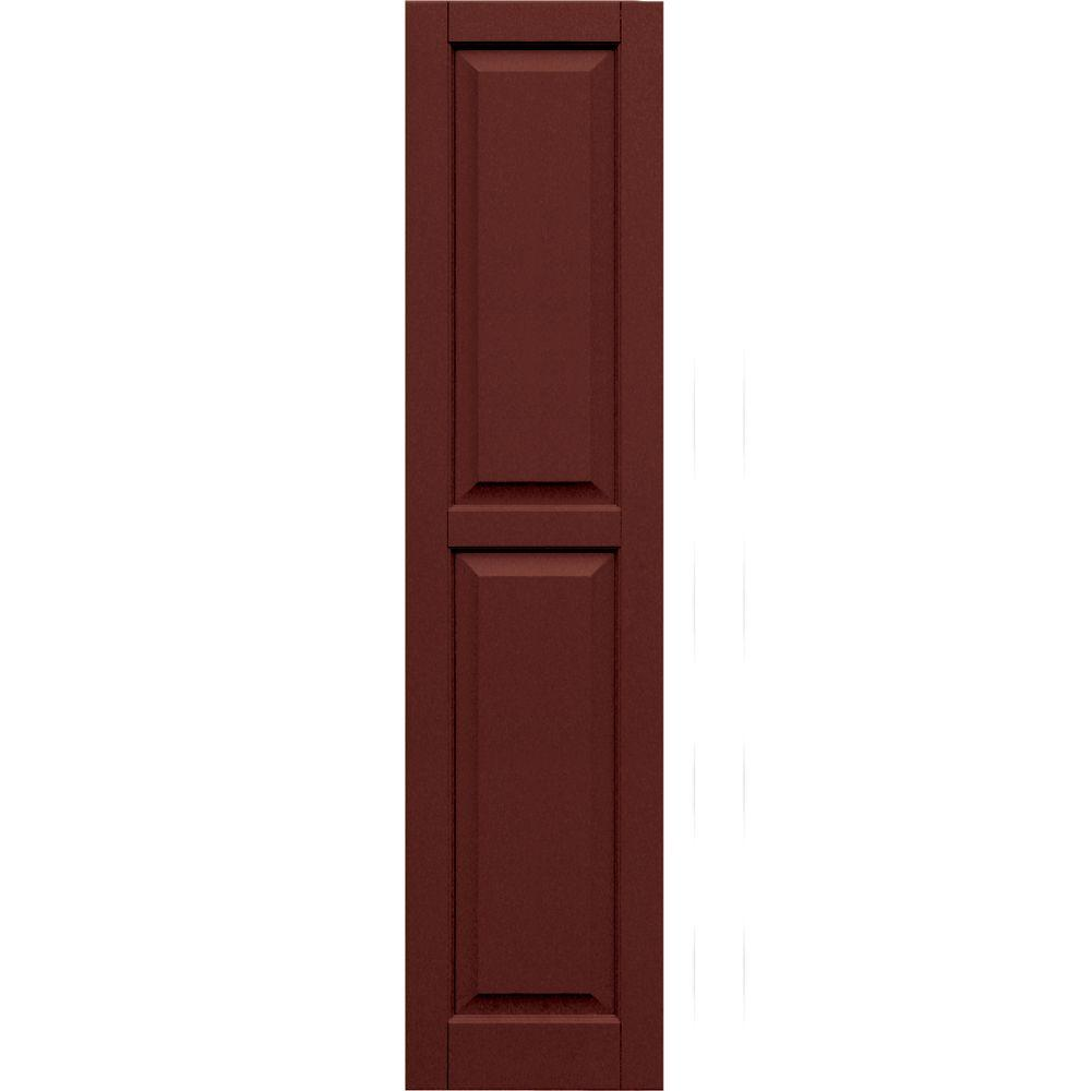 Winworks Wood Composite 15 in. x 64 in. Raised Panel Shutters Pair #650 Board and Batten Red