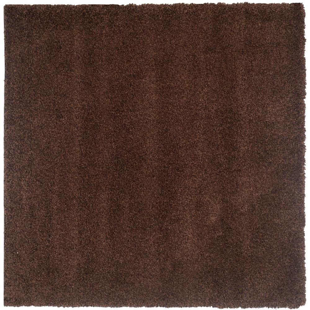 California Shag Brown 9 ft. x 9 ft. Square Area Rug