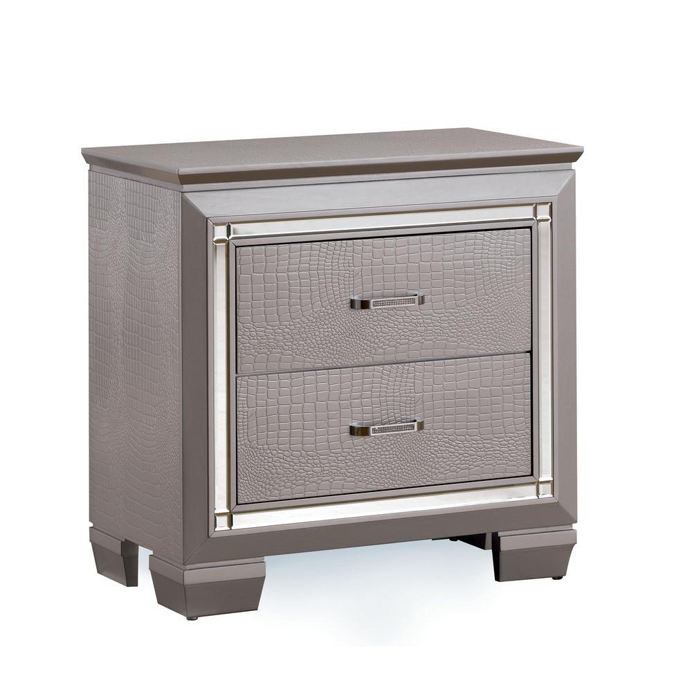 Bellanova Silver Contemporary Style Nightstand