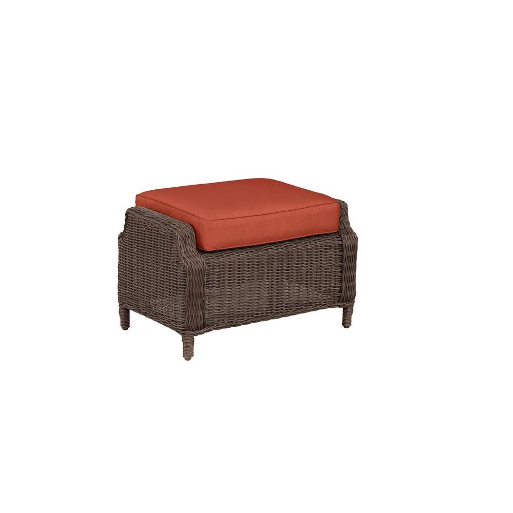 Brown Jordan Vineyard Patio Ottoman with Cinnabar Cushion...