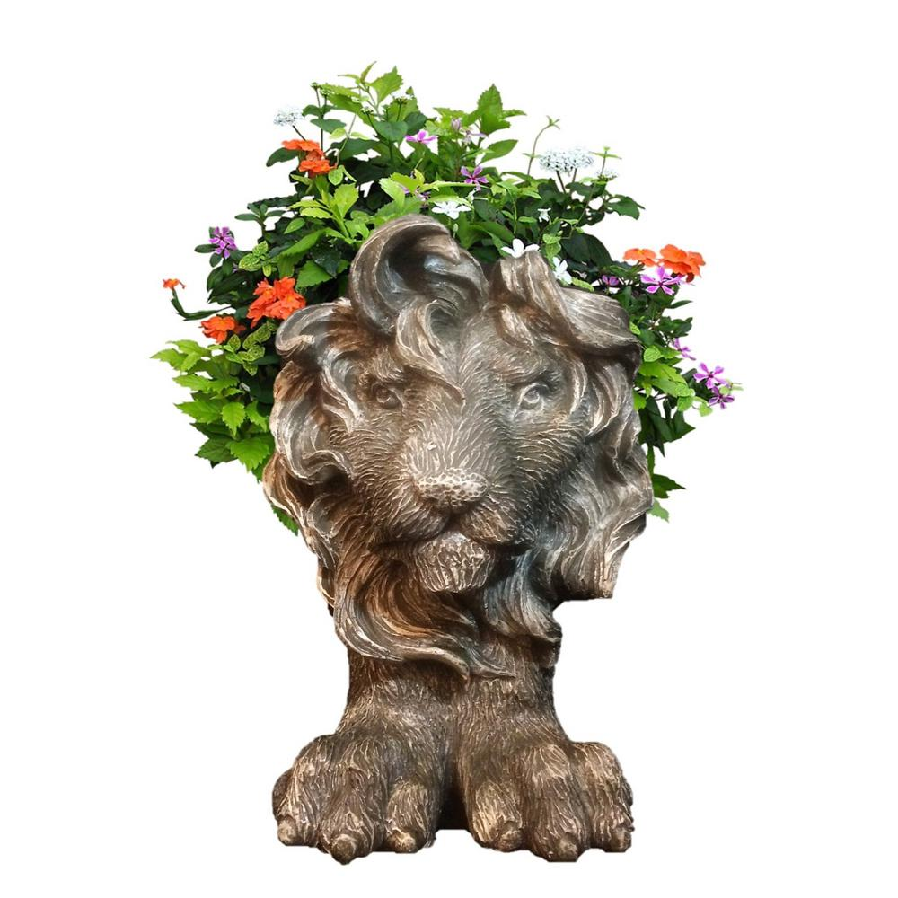 9 in. Graystone Lion Mascot Muggly Mascot Animal Statue Planter Holds