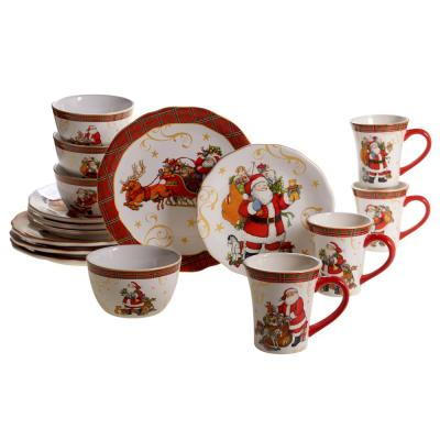 Vintage Santa Dinnerware 16-Piece Holiday Multicolored Earthenware Dinnerware Set (Service for 4)