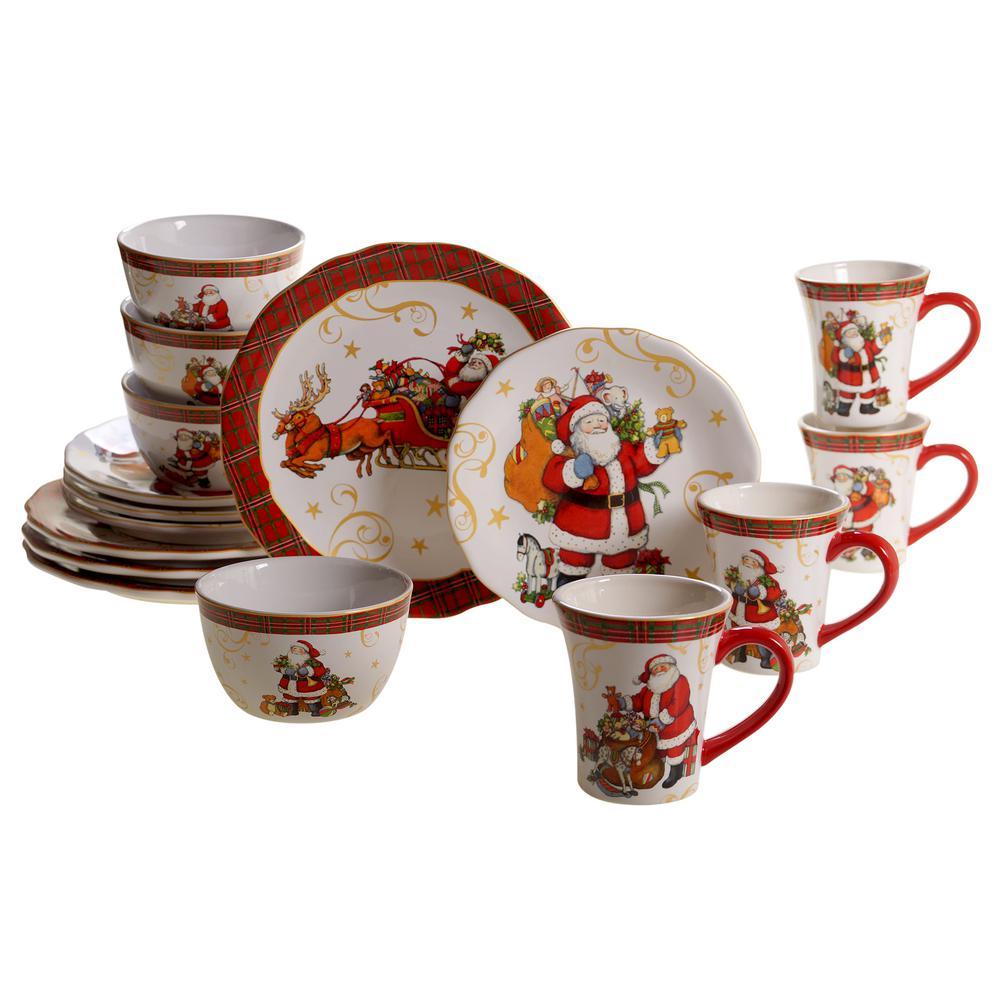 Vintage Santa 16-pc Dinnerware Set