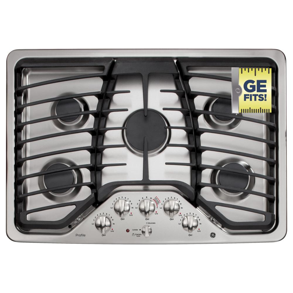 GE Profile 30 in. Gas Cooktop in Stainless Steel with 5 Burners including Power Boil Burner