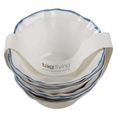 Ruffle Rim White Melamine Bowl (Set of 4)