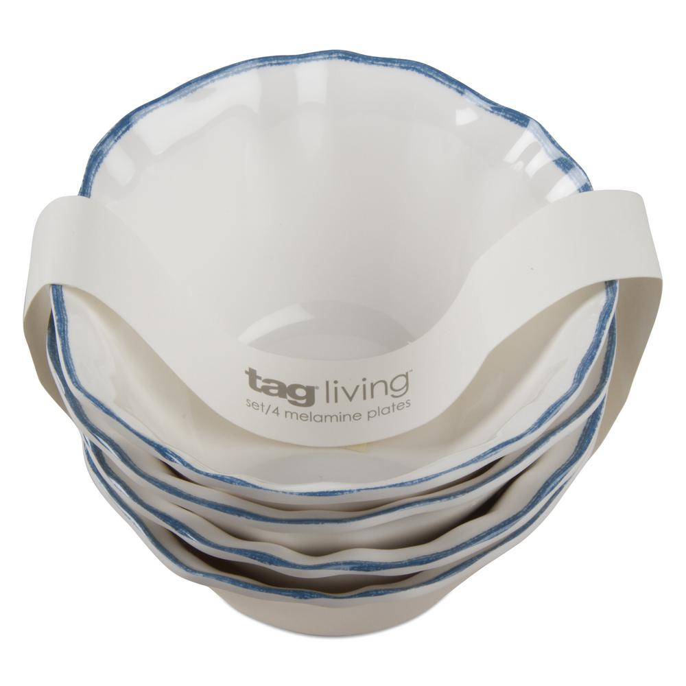 Ruffle Rim White Melamine Bowl (Set of 4)