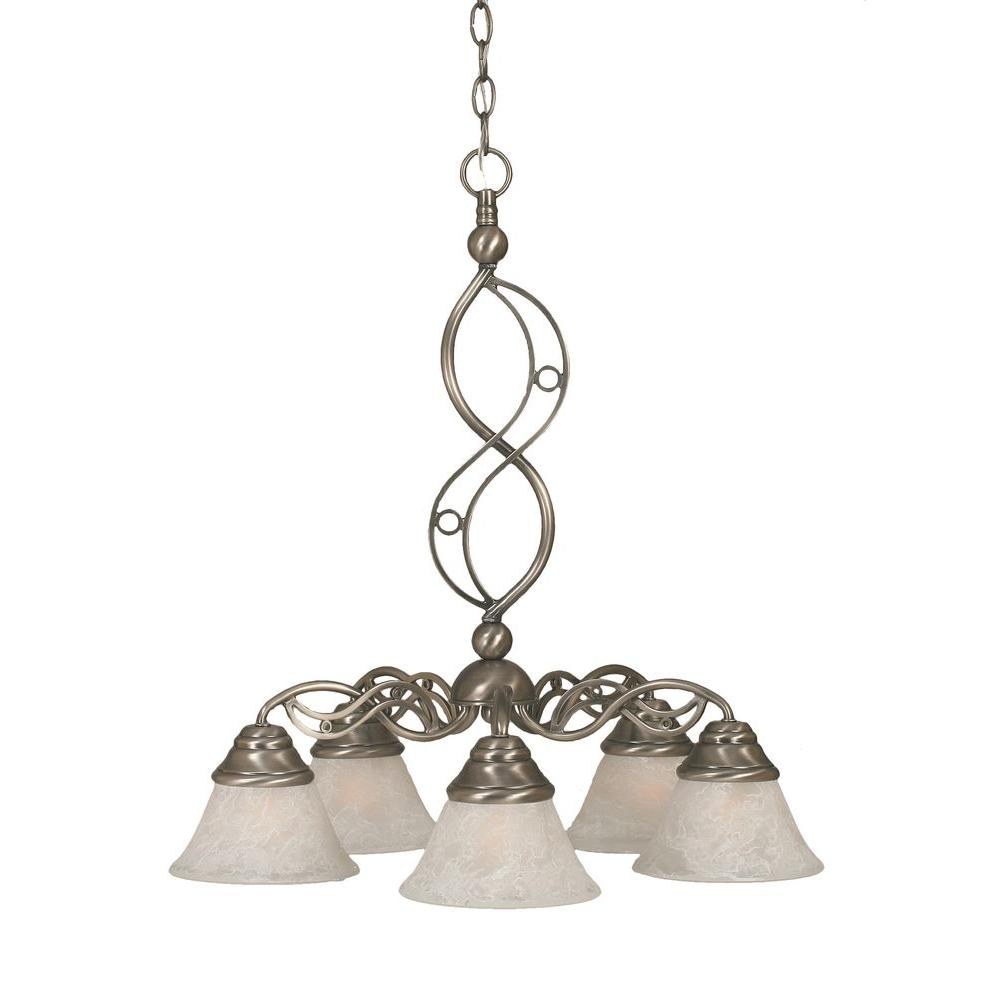 Filament Design Concord Series 5-Light Brushed Nickel Chandelier with White Marble Glass Shade