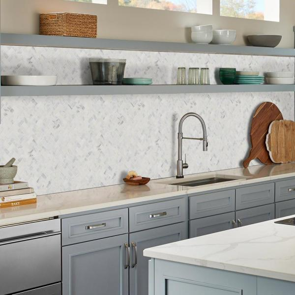 Msi Calacatta Cressa Herringbone 12 In X 12 In X 10 Mm Honed Marble Mesh Mounted Mosaic Tile 9 4 Sq Ft Case Calcre Hbh The Home Depot