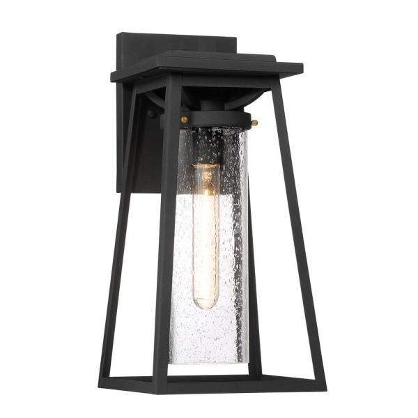 Lanister Court Large 1-Light Sand Black with Gold Outdoor Light Wall Sconce