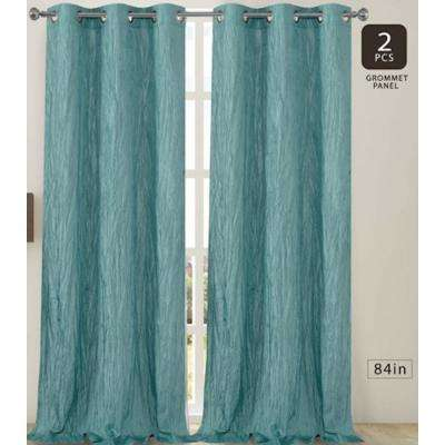 Jackson 38 in. W x 84 in. L Crushed Silk Window Panel Pair in Aqua (2-Pack)