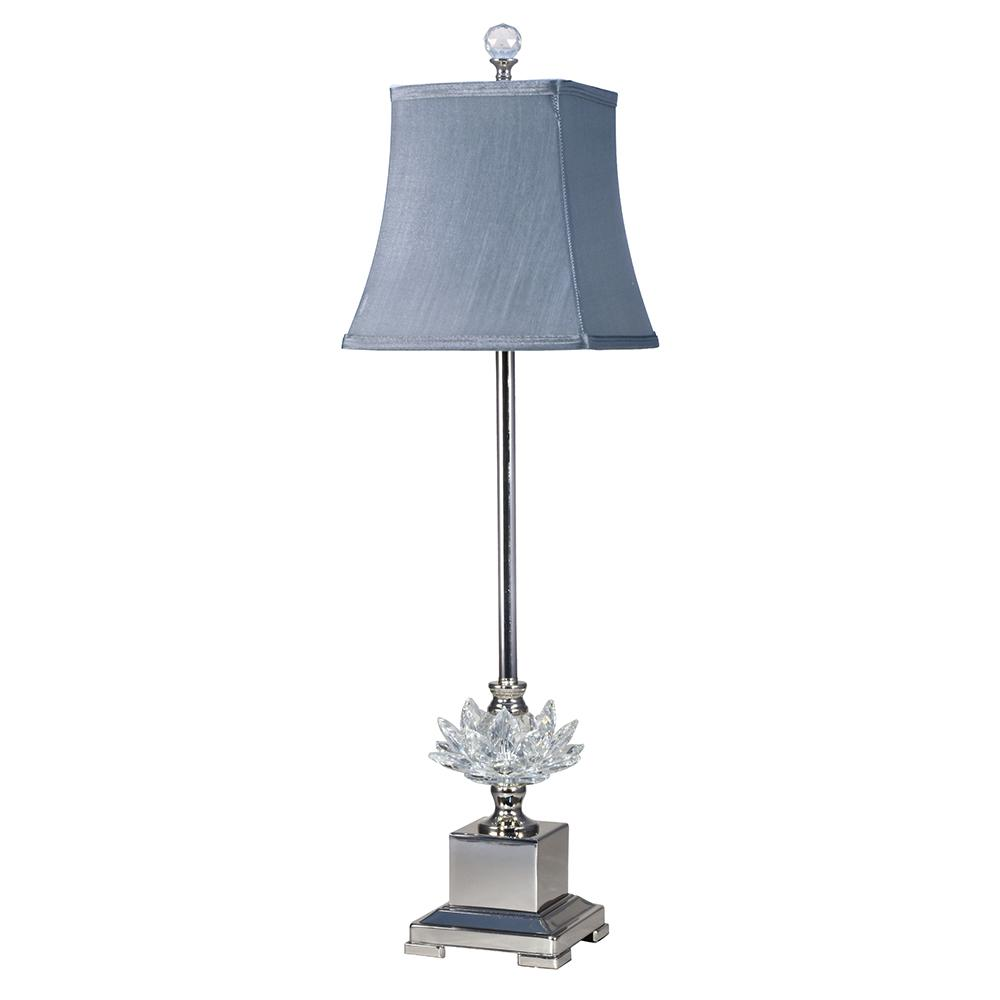 29 in. Lucinda Crystal Polished Nickel Finish Buffet Lamp with Fabric
