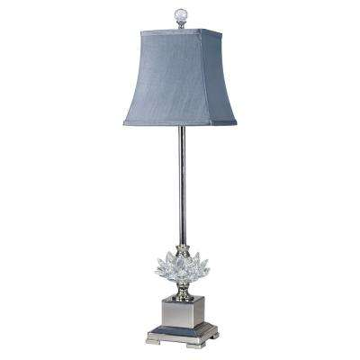 29 in. Lucinda Crystal Polished Nickel Finish Buffet Lamp with Fabric Shade