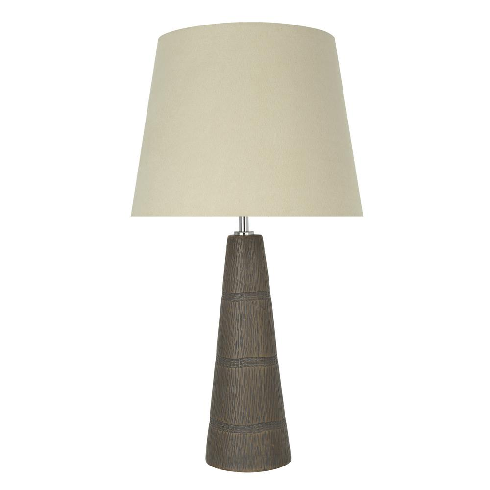 Faux Wooden Grain Ceramic Table Lamp With Hardback Empire Shaped Shade In Beige