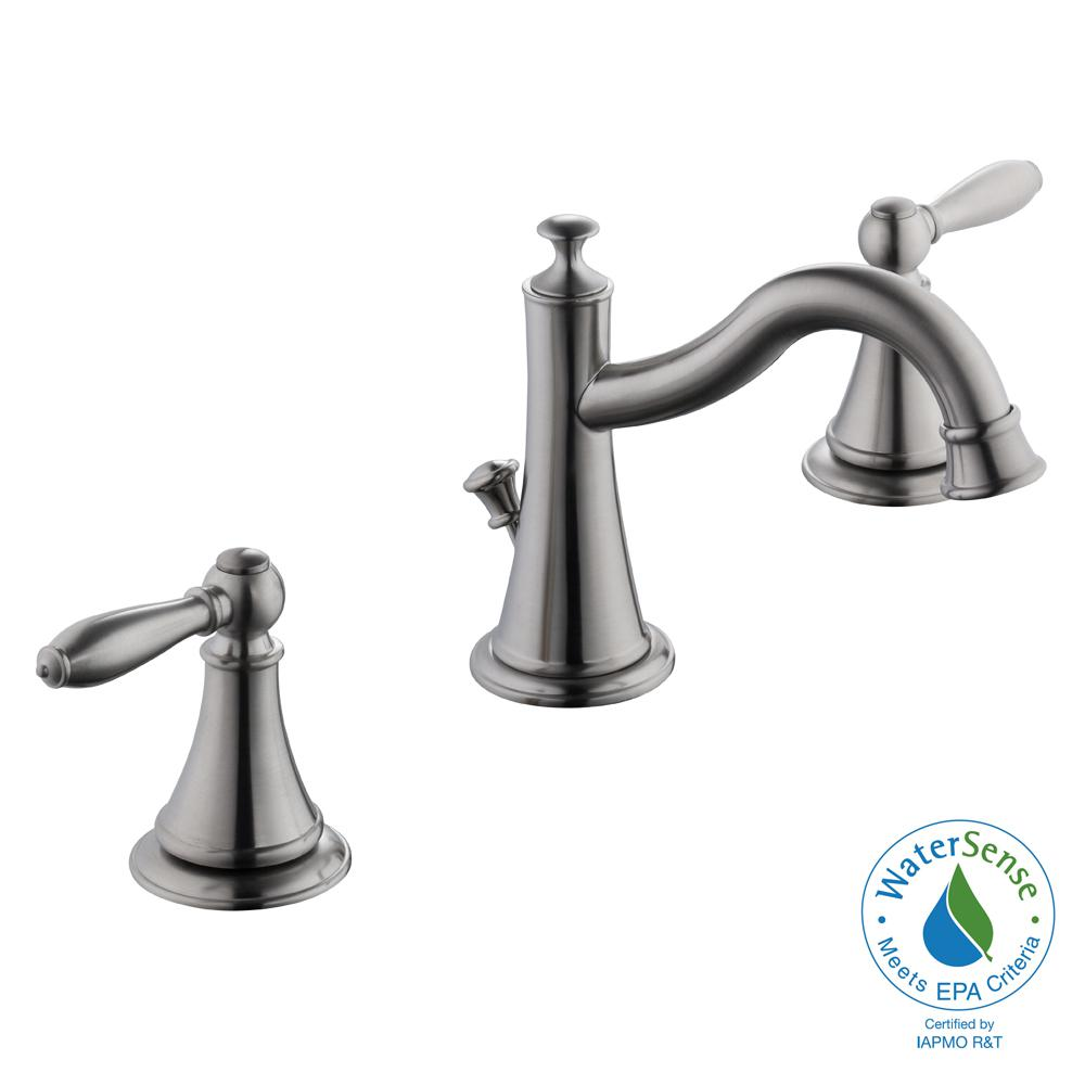 Varina 8 in. Widespread 2-Handle High-Arc Bathroom Faucet in Brushed Nickel