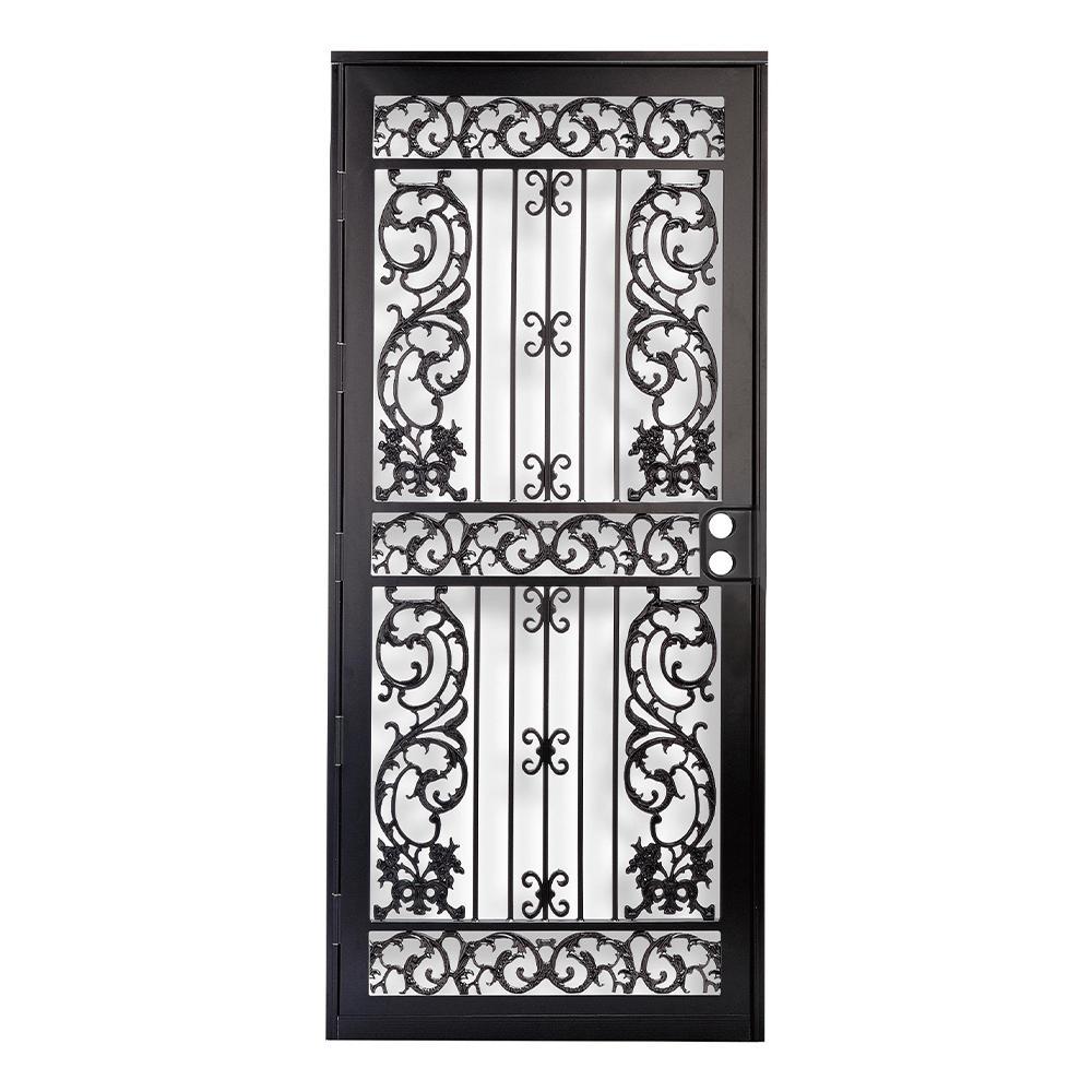 32 in. x 80 in. 414 Series Black Elegance Security Door