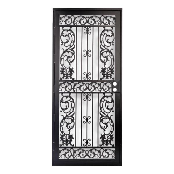 36 in. x 80 in. 414 Series Black Elegance Security Door