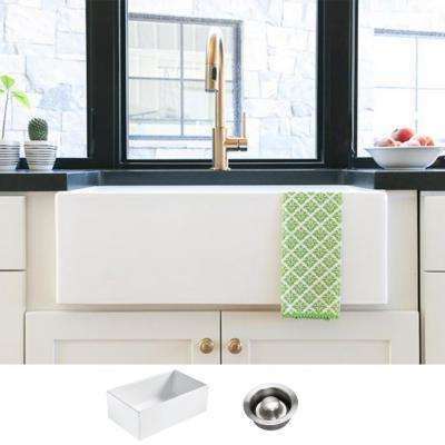 Bradstreet II Farmhouse Fireclay 30 in. Single Bowl Kitchen Sink in Crisp White with Disposal Drain
