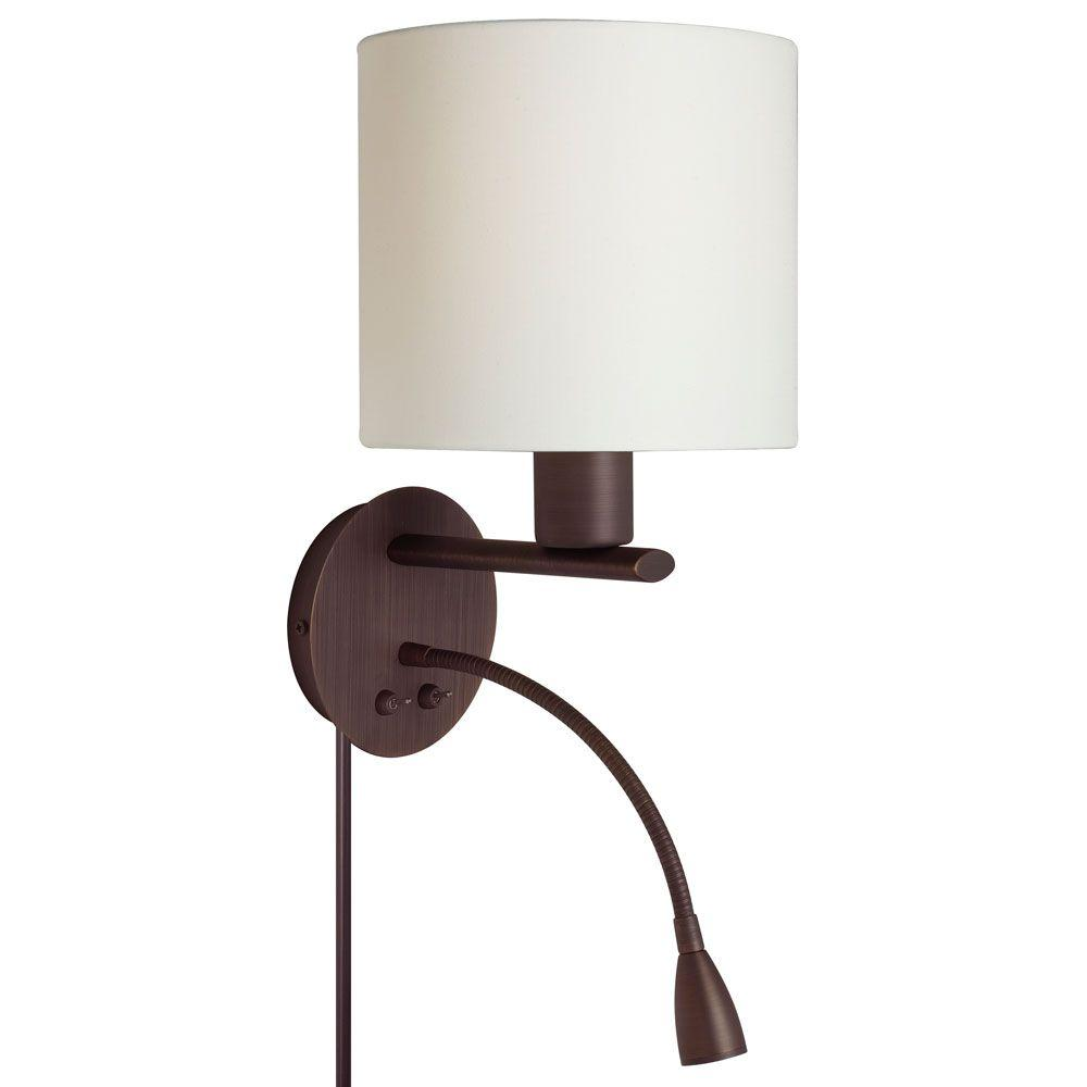 Catherine 2 Light LED Oil Brushed Bronze Sconce with Cream Fabric