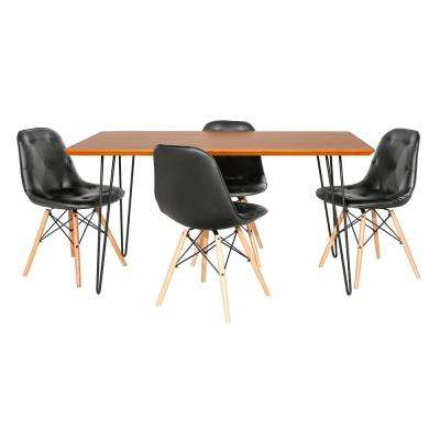 Contemporary Mid Century Modern Square Hairpin 5-Piece Walnut/Black Dining Set with Eames Chairs