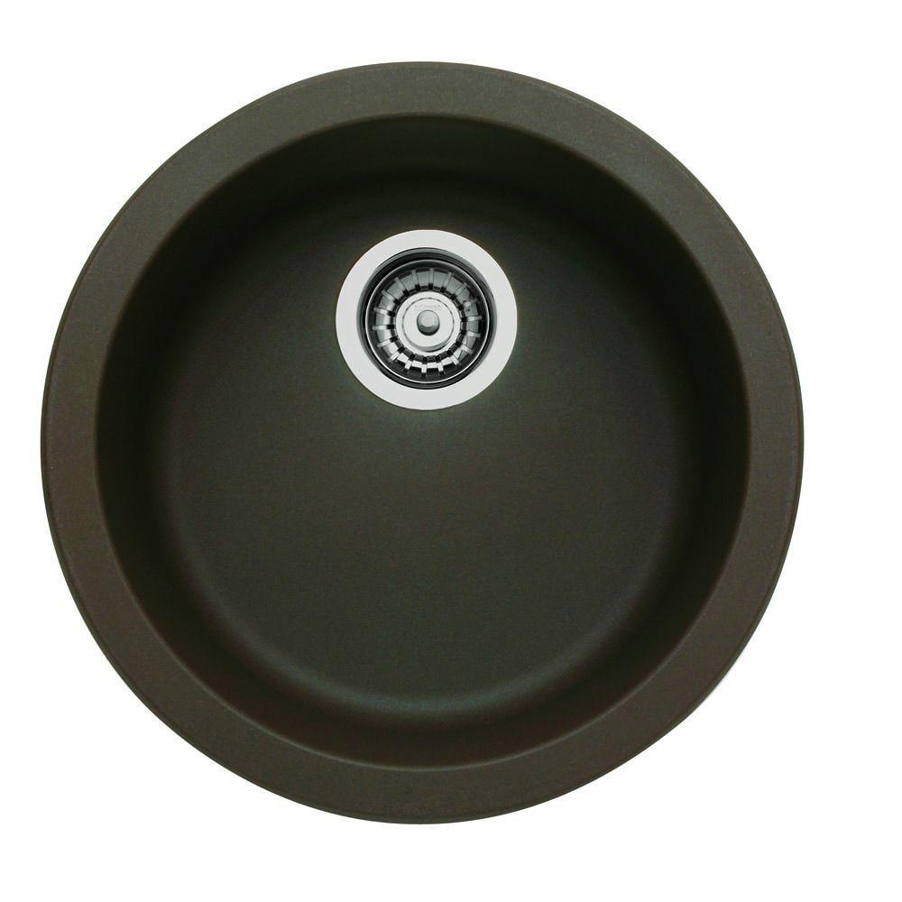 Blanco RONDO Dual Mount Granite Composite 17.69 in. Single Bowl Bar Sink in Cafe Brown