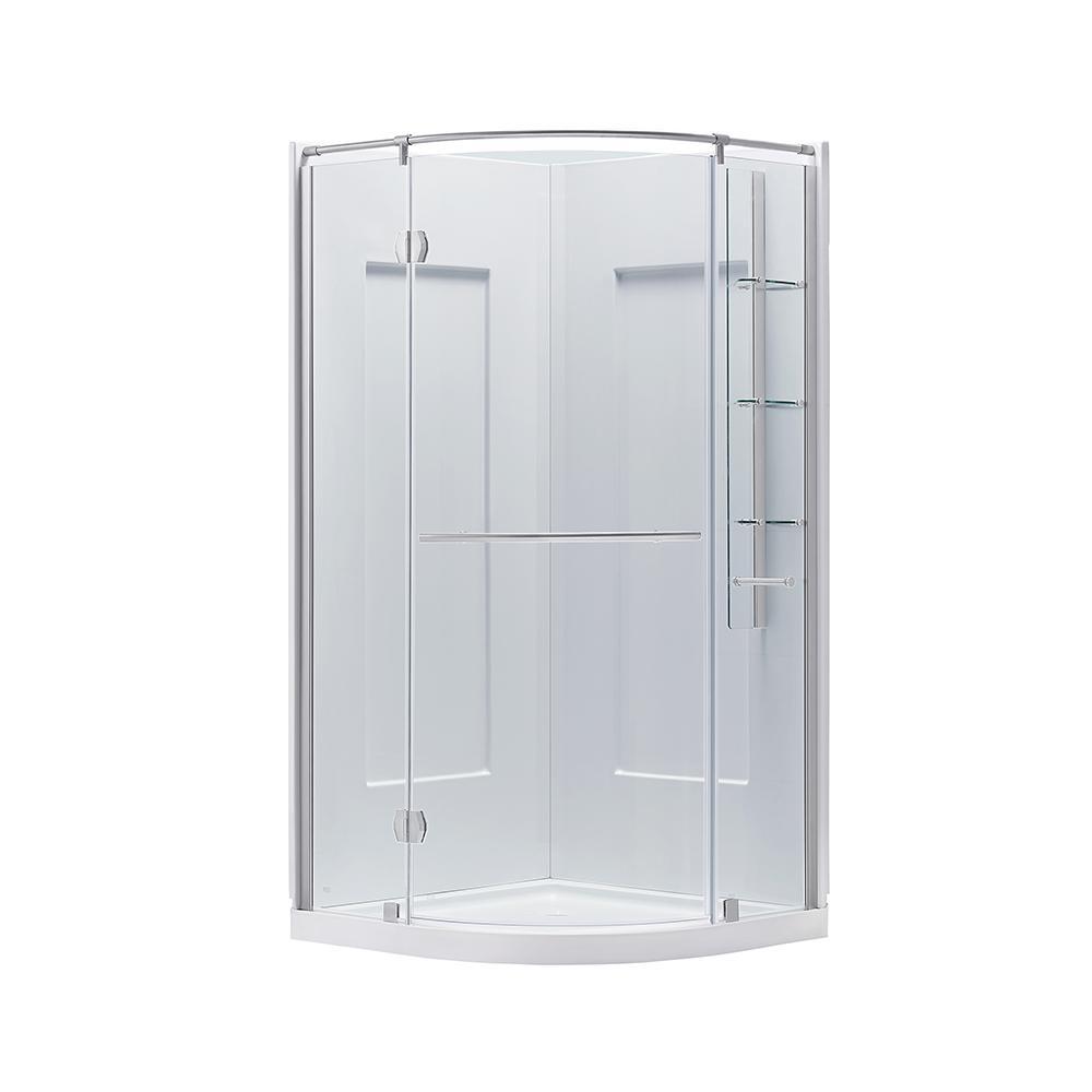 Glamour 38 in. x 76.40 in. Center Drain Corner Shower Kit in White and Satin Nickel Hardware